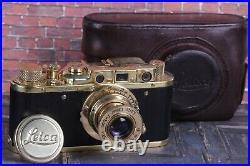 LEICA D. R. P Vintage Film Camera +Lens Elmar f3.5/50mm GOLD FED Zorki Copy