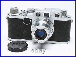 LEICA IIF RED DIAL 35mm RANGEFINDER FILM CAMERA LTM + ELMAR 5CM F/3.5 LENS EX+