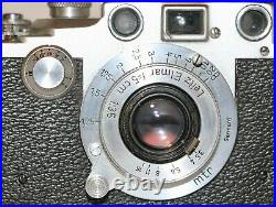 Leica Wartime IIIc With Red Shutter + 5cm f/3.5 Elmar + Selis Flash Unit In Box
