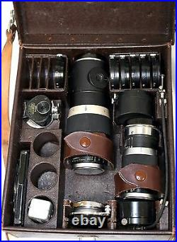 Lot of 3 WW2 era 1945/1946 Leitz Leica Lenses with Leather Case and Accessories