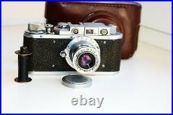 Rare Zorki-1 Vintage EXPORT USSR Copy Leica Film Camera withs lens industar-22 EXC
