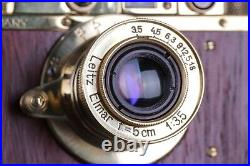 Vintage Film Camera LEICA D. R. P +Lens Elmar f3.5/50mm GOLD FED Zorki Copy